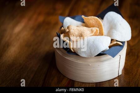 Far Eastern food, prawn crackers - Stock Photo