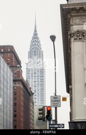 The Chrysler Building viewed from the 42nd Street in Midtown Manhattan - Stock Photo