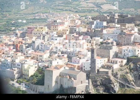 High angle view of Castelsardo, Sardinia, Italy - Stock Photo