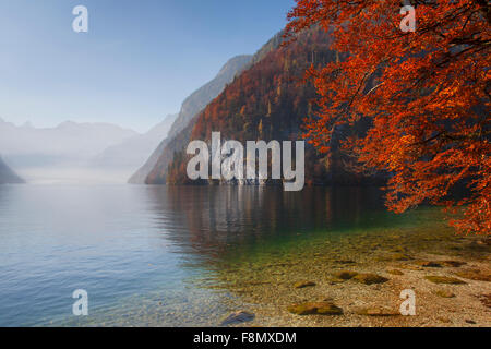 Lake Königssee in autumn viewed from Malerwinkel in the Berchtesgaden National Park, Alps, Bavaria, Germany - Stock Photo
