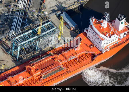 An aerial view of an Oil Tanker unloading at Teesside refinery Middlesbrough - Stock Photo