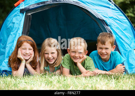 Group Of Children On Camping Trip Together - Stock Photo