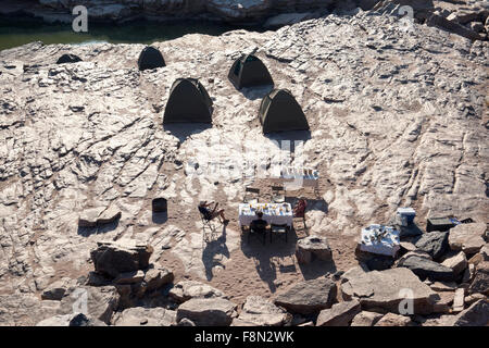 Campsite in Lower Fish River Canyon - Karas Region, Namibia, Africa - Stock Photo
