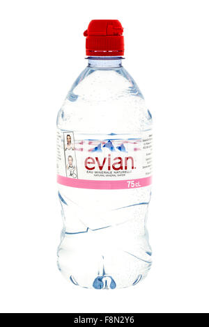 Bottle Of Evian Natural Mineral Water on a white background - Stock Photo