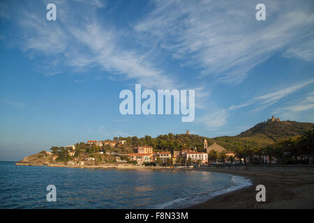 View from Collioure of the Fort Saint-Elme and Windmill, South of France. - Stock Photo