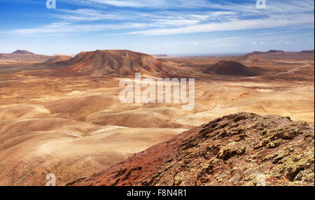 Fuerteventura Island - moon view landscape from volcano Roja near Corralejo, Canary Islands, Spain - Stock Photo