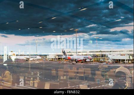 Planes at Terminal 2, Sydney Airport Australia. - Stock Photo