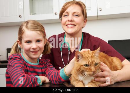 Girl Taking Pet Cat To Vet For Examination - Stock Photo