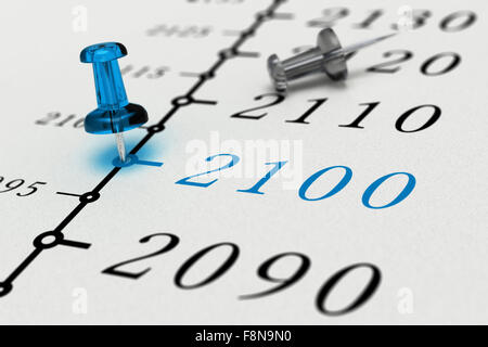 Year 2100 written on a paper with a blue pushpin, concept image for business vision or long term prospective. Number - Stock Photo
