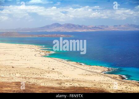 Fuerteventura Island, beach near Corralejo, Parque Natural de Corralejo, Spain, Canary Islands - Stock Photo