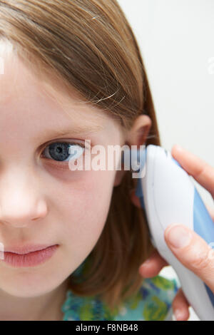 Girl Having Temperature Taken With Digital Thermometer - Stock Photo