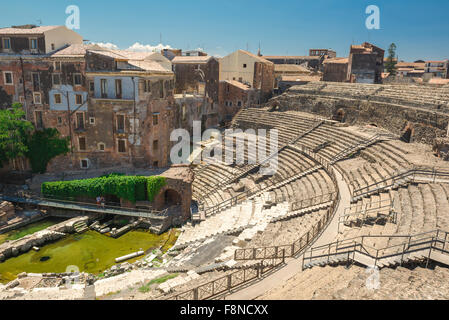Catania roman theater, view of the ancient Roman theatre, the Teatro Romano, in the centre of the city of Catania, - Stock Photo