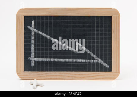 Blackboard With Graph Showing Recession - Stock Photo