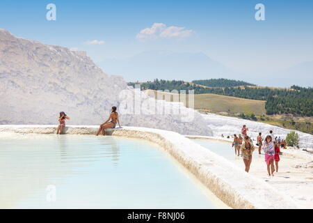 Pamukkale, limestone terraces, Turkey - Stock Photo