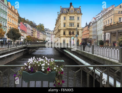 CARLSBAD, CZECH REPUBLIC, OCTOBER 10, 2015  - Historic city center with river of the  spa town Karlovy Vary (Carlsbad) - Stock Photo
