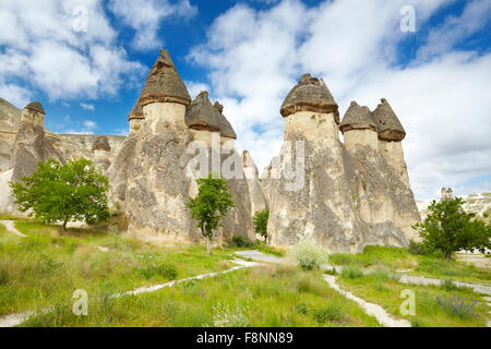 Cappadocia - Turkey, stone formations near Zelve, UNESCO - Stock Photo