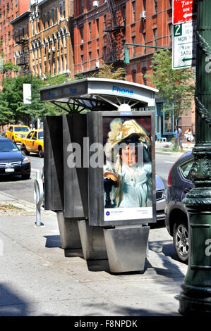 A John Singer Sargent painting is reproduced on a phone booth kiosk in New York  City as part of the Art Everywhere - Stock Photo