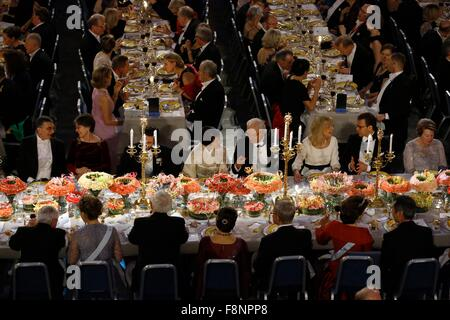 Stockholm. 10th Dec, 2015. Photo taken on Dec. 10, 2015 shows the traditional Nobel Banquet at city hall in Stockholm, - Stock Photo