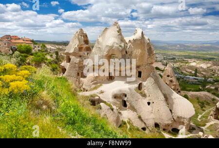 Cappadocia - Turkey, stone formations near Uchisar, UNESCO - Stock Photo