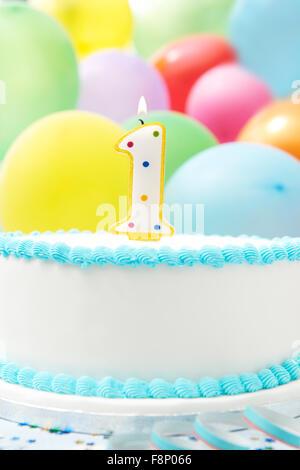 Cake Celebrating 1st Birthday - Stock Photo