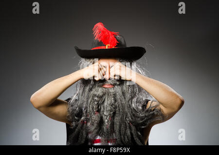Funny pirate with long beard - Stock Photo