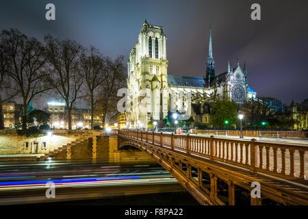 The Cathédrale Notre-Dame de Paris and Pont au Double at night, in Paris, France. - Stock Photo