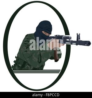 Soldiers with automatic firearms. Illustration on white background. - Stock Photo