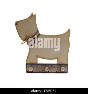 Retro vintage wooden dog coat hook on white Background - Stock Photo