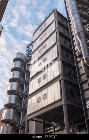 Lloyd's building on Lime Street,architect Richard Rogers,Grade One listed building on Lime Street,City of London,England - Stock Photo
