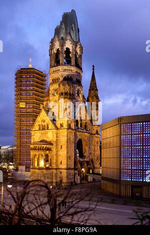 Kaiser Wilhelm Memorial Church , Breitscheidplatz,Berlin The original church on the site was built in the 1890s. - Stock Photo