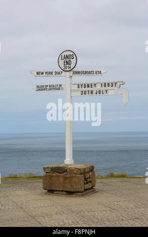 Lands End Sign Post  in Cornwall, United Kingdom - Stock Photo