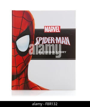 MARVEL Book Spider-man an Origin Super Hero Story on a White Background - Stock Photo
