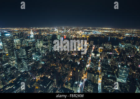 New York - September 19 , Night view from the Empire State building Hudson River lights reflecting 19 September - Stock Photo