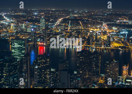 New York - September 19 , Night view from the Empire State building on 19 September 2015. Pepsi Cola reflecting - Stock Photo