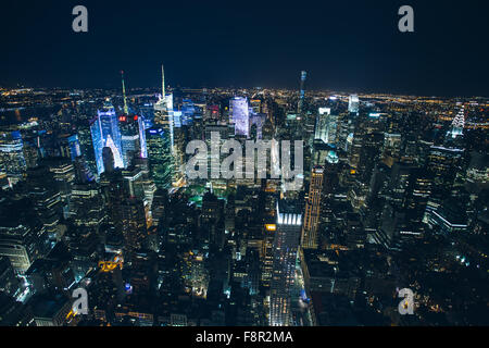 New York - September 26 , Night view from the Empire State building on 26 September 2015. Left Hudson River right - Stock Photo