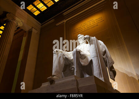 Lincoln Memorial illuminated at night in Washington DC - Stock Photo