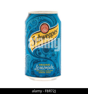 Can Of Schweppes Lemonade on a White Background - Stock Photo