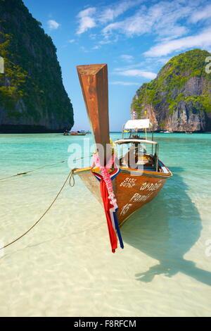 Thailand beach - Phang Nga, Maya Bay on Phi Phi Leh Island, Asia - Stock Photo