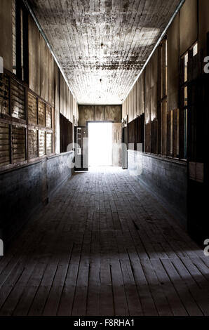 Building interior of an abandoned school, Humberstone, Chile - Stock Photo