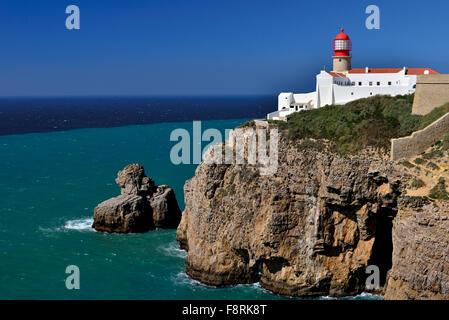 Portugal, Algarve: Lighthouse and Cape Saint Vincent - Stock Photo