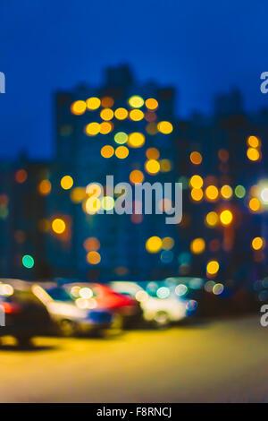 Blue Boke Bokeh Lights Urban City Defocused Background. - Stock Photo