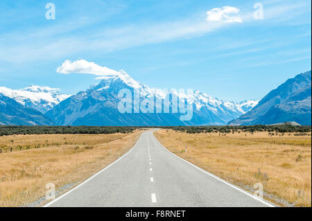 Mackenzie country and Mount Cook, South Island, New Zealand - Stock Photo