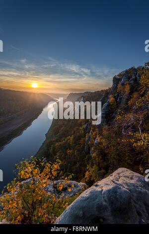 View of Elbe from bastion, sunset, Elbe Sandstone Mountains, Saxon Switzerland National Park, Saxony, Germany - Stock Photo