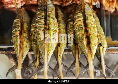 fresh grilled bbq asian fish in kep market cambodia - Stock Photo