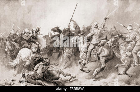 German Uhlans engaging French Dragoons at Perwez, Belgium during WWI. - Stock Photo