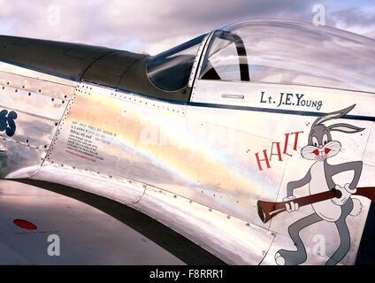 North American Mustang P-51D Jumpin Jaques visiting White Waltham - Stock Photo