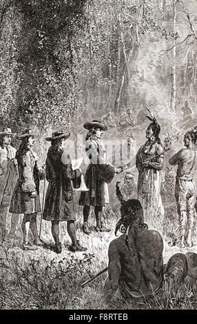 William Penn's treaty with the Lenape Native American Indians in 1681. William Penn, 1644 - 1718.  English real - Stock Photo