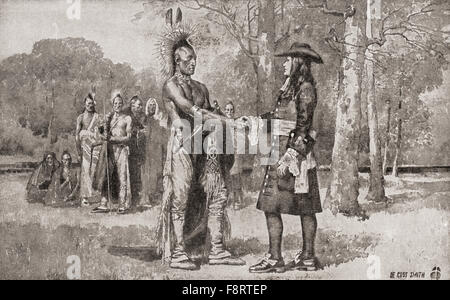 William Penn arrives in Upland, Chester, Province of Pennsylvania in 1682.  William Penn, 1644 - 1718.  English - Stock Photo