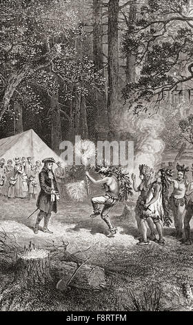 James Oglethorpe, accompanied by settlers, arrives in 1732, at Yamacraw Bluff, Savannah, Georgia to  establish a - Stock Photo