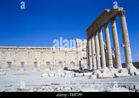 Part of the ruins at Palmyra in Syria. Palmyra is an ancient Semitic city in present-day Homs Governorate, Syria. - Stock Photo